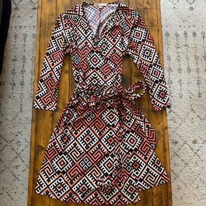 Long Sleeve Self Tie Wrap Dress Size Medium